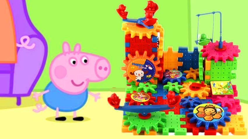 粉红猪小妹用喜羊羊与灰太狼电动积木学习制作房子二