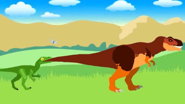 恐龙动漫 小恐龙抓蜻蜓与霸王龙捕鱼搞笑动画视频