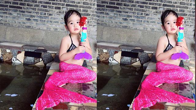 饺子身穿泳衣cos美人鱼 包贝尔调侃:她是胖版的