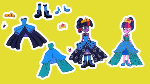 小马宝莉创意手工制作,DIY小马国女孩公主裙,皇冠,项链和鞋子