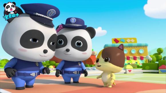 宝宝巴士汽车家族—热心的警察帮助迷路的小孩找到了家