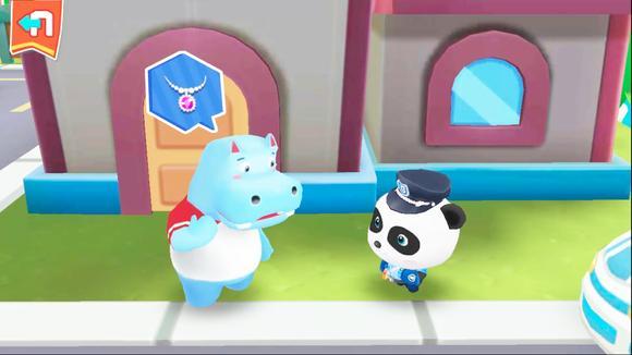 宝宝巴士角色扮演游戏—小伙粗心丢项链向求助警察,最后皆大欢喜