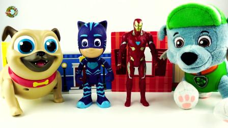 PJ面具玩具,旺旺巡逻队玩具,钢铁侠和小狗狗玩具,惊喜动态沙玩具