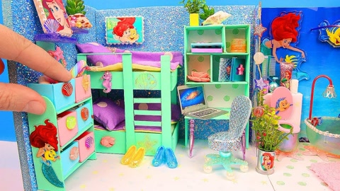 DIY:微型双人床卧室浴室美人鱼娃娃屋