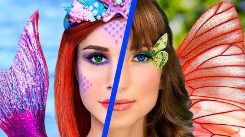 DIY主题妆:小姐姐化妆逆袭,美人鱼妆VS蝴蝶花仙妆美到窒息