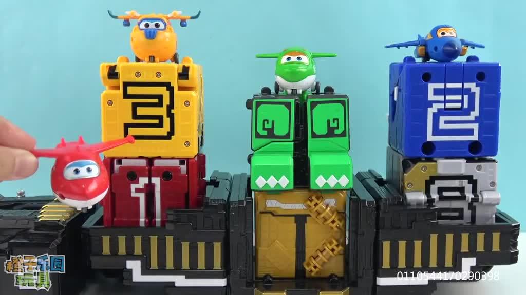 橙子乐园玩具和食玩 超级飞侠动物战队变形方块合体机器人