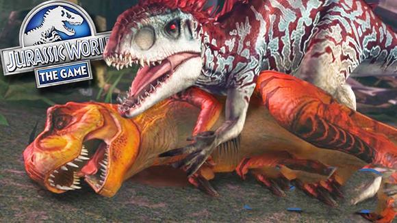 侏罗纪世界游戏:迅猛鳄龙大战鱼石螈 真假传奇生物 恐龙公园