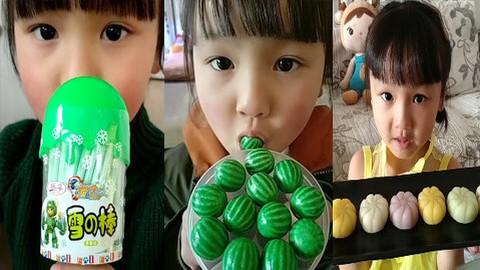 吃播小美女,吃西瓜泡泡糖 蛋糕 雪棒糖,等各种奇葩糖果